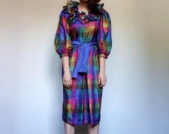 Plaid Dress 1980s Dress 80s Dress Colorful Dress Summer Dress Ruffle Neckline Vintage Dress - Medium to Large M L