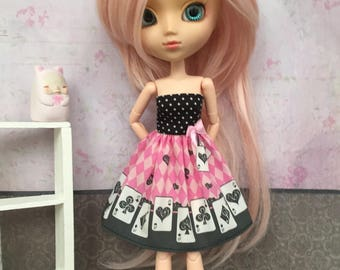 Black and pink dress with cards for Pullip - Little Lénie