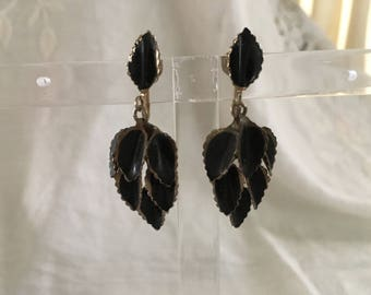 1930s 1940s Antique Goth Silver Black Leaf Drop Earring Screw Back Mint Cond