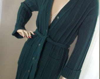 Vintage 1970s Forest Green Rib Knit Cardigan Sweater Coat with Tie Belt Size M
