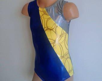 SALE!!! 20% OFF! Girls 5 Ready to ship. Gymnastics Dance Leotard Blue with Yellow Swirly Insert and Keyhole Back.. Dancewear.