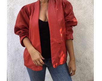Sexy Vintage 1980's red leather jacket with shoulderpads