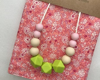 Pink & Lime Silicone Bead Teething Necklace