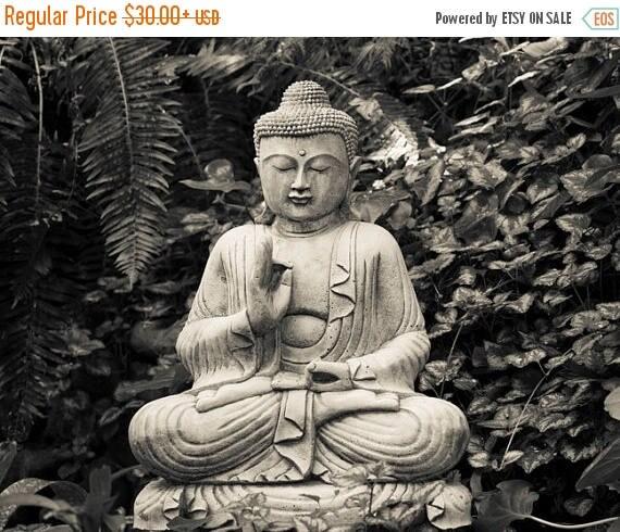 SUMMER SALE-Ends July 5- Buddhism Photograph, Buddha Photo Japanese Garden Zen Buddhist Meditation Black White Yoga Wall Art oth50bw