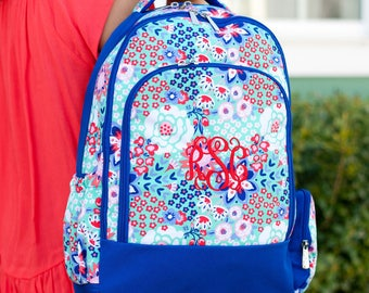 Special 2 Piece Set - Monogrammed Garden Party Backpack Trimmed in Royal Blue and Matching Lunch Box; Back to School; Great for Girls