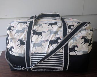 Adventurer overnight bag in unicorn/ black and white/ travel/ duffel bag/ carry on/ cotton and steel/ hot pink