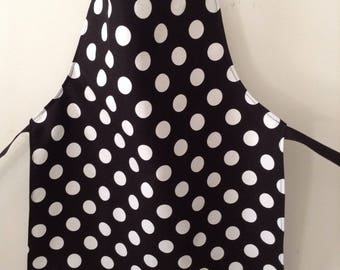 BEST SELLER- Full Black and White Polka Dot Apron, Childs or Adults Small Art or Kitchen Apron, Chefs Apron, handmade in Australia
