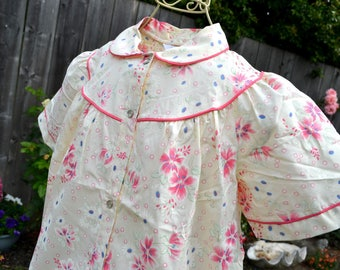 Vintage House Dress Summer Robe - Sears Snap Front Housecoat - Pink Floral - SM NOS