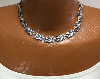Vintage Sarah Coventry Blue Rhinestone and Silver Necklace