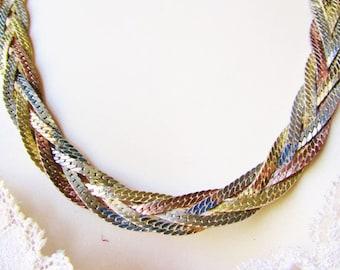 "Vintage Serpentine Chains Necklace 24"" Copper Silver Gold Collar Choker Bright Braided Textured  1980s  Retro Art Deco Diva Statement"