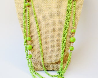 Gorgeous Vintage Lime green 1950's Sign Japan Lucite necklace, bright green multistrand necklace, Art deco, retro necklace, Neon Statement