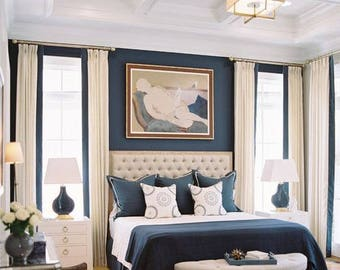 """Pair (two 50"""" W panels) European linen drapes with contrast band, flat panels, rod pocket panels"""