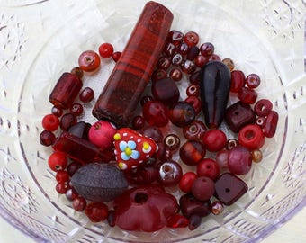 Red Glass Beads, Destash Beads, Red Bead Soup, 52g Mixed Lot of Loose Beads, Red Bead Destash, DIY Jewelry Making, Red Bead Mix #42