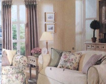 Drapes, Slipcovers and Pillows, Butterick 3877, Uncut Sewing Pattern, 2003, Home Decor, Crafting