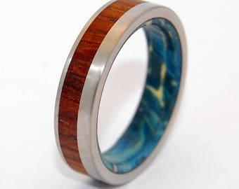 Titanium Wedding Band, Wooden Wedding Ring, Titanium Wedding Ring, Wedding Band, Wedding Ring, something blue - PRIVATE UNIVERSE