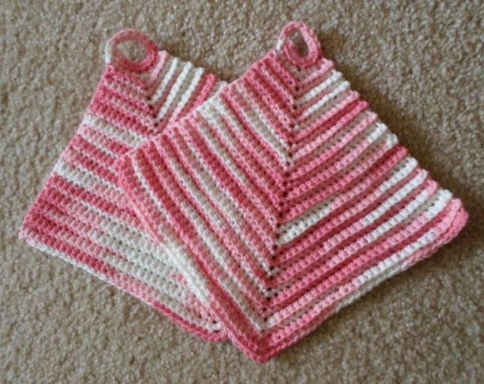Potholder - Crochet Potholder - Made of Cotton Selfstriping in Pink and White