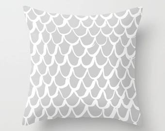Silver Mermaid Throw Pillow . Grey and White Pillow . Gray Cushion . Grey Mermaid Pillow . Gray Pillow . Mermaid Cushion 14 16 18 20 inch