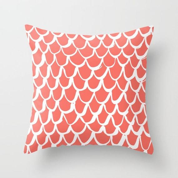 Coral and White Mermaid Throw Pillow - Salmon Pillow - Coral Cushion - Mermaid Pillow - Coral Pillow - Coral Cushion 16 18 20 24 inch