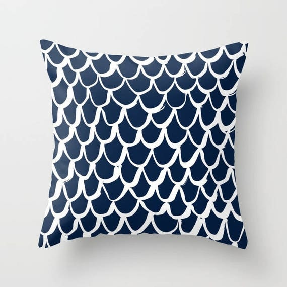 Navy Mermaid Throw Pillow . Blue and White Pillow . Navy Blue Cushion . Mermaid Pillow . Navy Pillow . Mermaid Cushion 16 18 20 24 inch