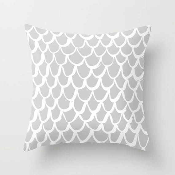 Silver Mermaid Throw Pillow . Grey and White Pillow . Gray Cushion . Grey Mermaid Pillow . Gray Pillow . Mermaid Cushion 16 18 20 24 inch