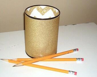 Gold Glitter Desk Accessories, Bling Pencil Holder, Desk Organization, Office Decor,  Gold Bling Dorm Decor, Makeup Organizer - 982