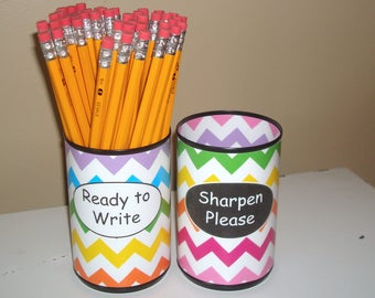 Rainbow Chevron Desk Accessories, Pencil Holder Set, Tin Can Pencil Holder with Labels, Classroom Organization, Teacher Gift   1044