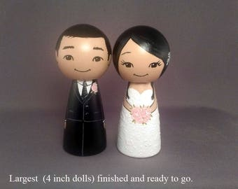 Bigger 4 inch Wedding Cake Toppers Ready to Go