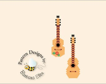 2 Styles of Guitar Bead Pattern - Beaded Earring Patterns in Brick Stitch or Peyote Stitch #412