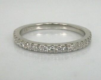 Estate Diamond Platinum Wedding Ring – Diamond Half Eternity Ring