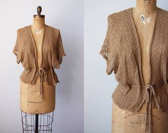 1970s Sweater - Vintage 70s Deadstock Neutral Camel Knit Crochet Fishnet Batwing Ballet Shawl - Chance at Love Shrug