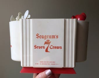 Seagram's 7 Crown bar caddy, swizzle stick & napkin holder, includes 20 cocktail stir sticks, man cave decor, red and white bar accessory