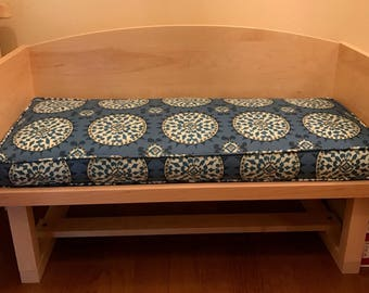 "Bench Seat Cushion Cover,34.75"" x 14"" x 3"",Includes Piping and Zipper,Your Fabric Selection, Made to Order, You Pay Shipping."