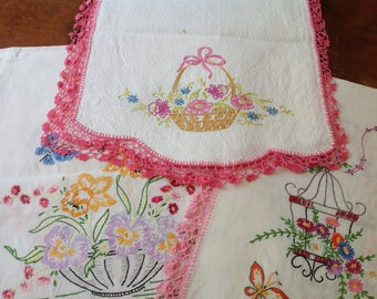 Vintage Dresser Scarf Table Runner with Embroidery and Crocheted Trim - 3 to Choose From