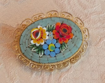Vintage Micro Mosaic Pin, Brooch, aqua, floral, gold scroll