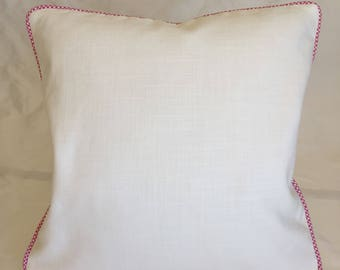 Ivory Linen with Raspberry Gingham Welt