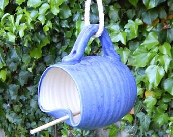Bird feeder hanging garden outdoor  hand thrown in stoneware fully weatherproof wheelthrown pottery handmade ceramic frostproof