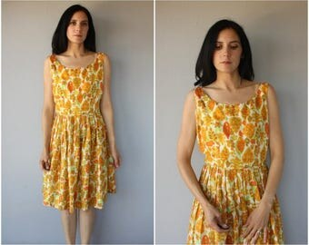 Vintage 1960s Dress   60s Dress   1960s Silk Party Dress   50s Party Dress   1950s Sun Dress   Printed Sun Dress 60s - (large)