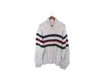 30% OFF Vintage 80s Unisex Gray Knit Striped Boating Sweater men women s-xl oversized cozy rustic yatch winter indie preppy Nantucket vestie