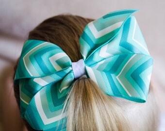 Hair Bow - Ombre Turquoise Chevron Pinwheel Bow