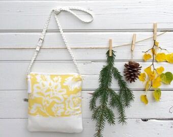Crossbody Bag, Floral Handbag, Faux Leather Handbag, Adjustable Cross Body Bag, Yellow Floral Purse, Shoulder Bag