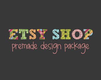 Etsy Shop Banner Avatar Set, Etsy Cover Shop Icon, Premade Design Package, Business Logo, Doodle Colors Design, Letter Patterns, Rainbow