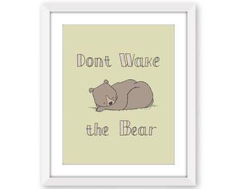 Word Nursery Art -- Don't Wake the Bear -- Bear Nursery Art -- Children's Art Print -- Woodland Art -- Nursery Art -- Kids Wall Art