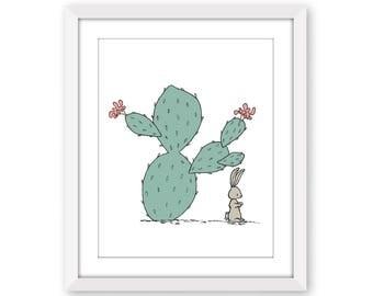 Cactus Nursery Art -- Southwest Bunny -- Nursery Art -- Kids Wall Art -- Childrens Art -- Cactus Art -- Nursery Decor -- Owl Nursery Art