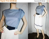 SALE Vintage Navy and White Gingham Day Dress with Fashion Belt. Super Cute.