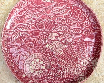 9 inch Stoneware Plate Pink Lace Collage Platter