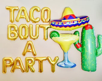 TACO BOUT A PARTY Balloons, Taco Bar, Taco Decoration, Taco, Taco Banner, Fiesta, Taco Bout It, Taco Bout A Party, Tacos, Taco Tuesday