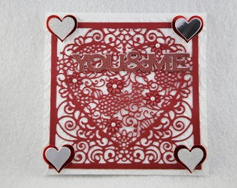 you and me card, love card, valentines card, handmade love card, valentines greeting card