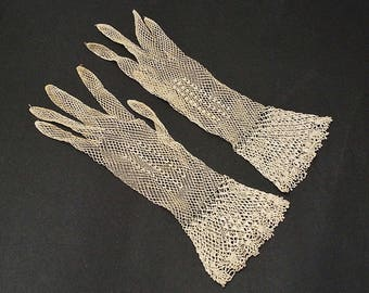 Vintage Ivory Color Bobbin Lace Gloves