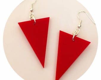 Geometric Earrings, Red Acrylic Triangle Earrings, Dangle Earrings, Geometric Jewelry, Womens Gift