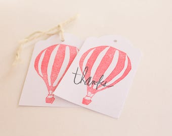 HOT AIR BALLOON tags, gift tags, thank you tags, Hot air balloon favour tags, hot air balloon party x 10